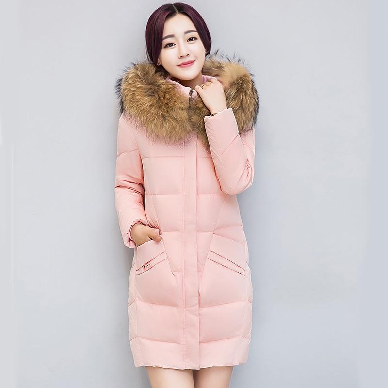 Hiver parkas femmes Long grand col de fourrure à capuchon épais chaud rose couleur parka veste Casual Mince d'hiver-15 ~ -20 degrés portent manteau