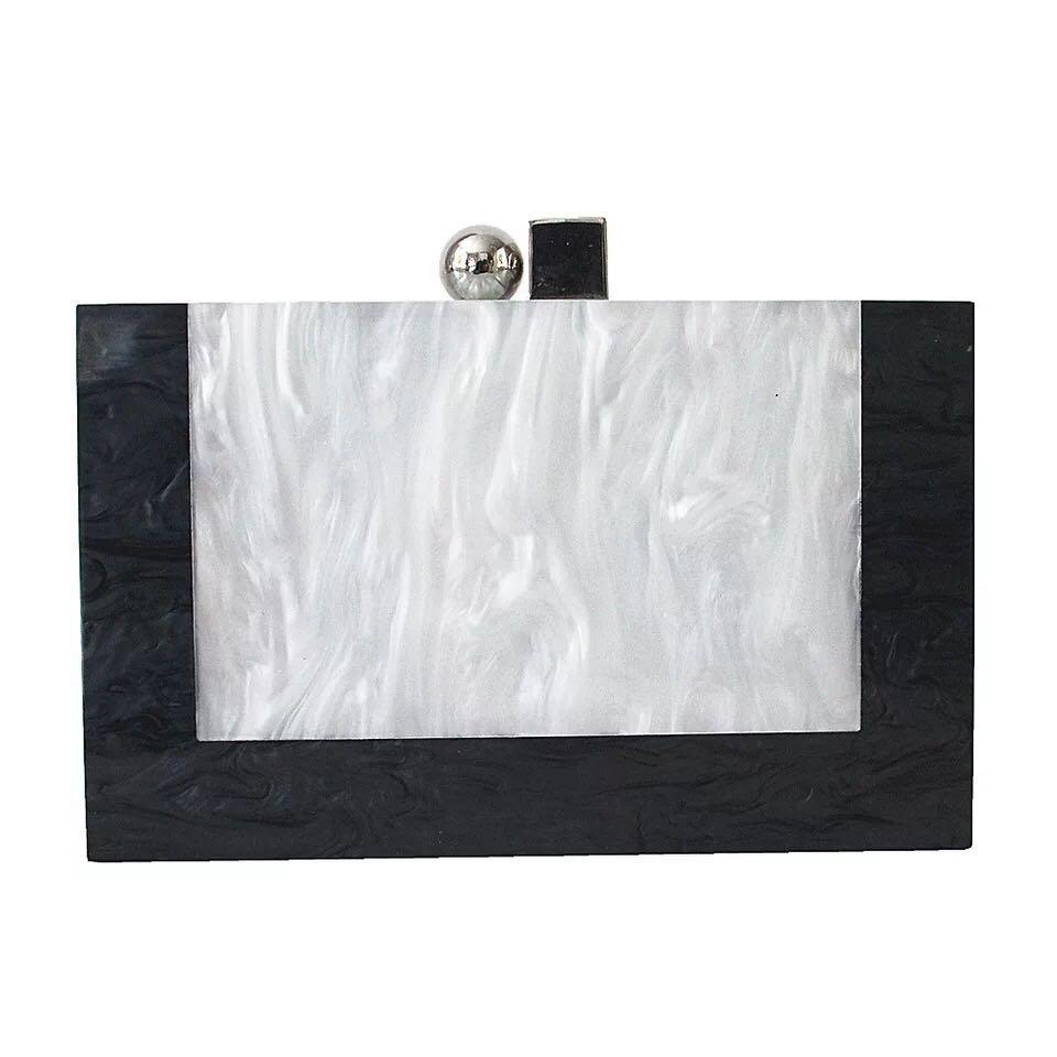 Hart Arbeitend Yens 2018 Frauen Elegante Acryl Clutch Box Marke Designer Schwarz Und Weiß Getäfelten Blumenabendparteibeutel Hochzeitstasche Einzigartige Brieftasche Gepäck & Taschen