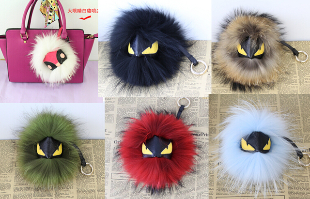 new monster fur Charm leather Bag accessories Fluffy fox fur ball pom poms key chains plush keychain car keyring Purse Pendant