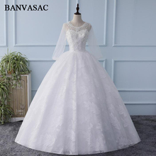 BANVASAC O Neck Backless 2018 Lace Ball Gown Wedding Dresses Sequined Long Sleeve Real Photos Embroidery Bridal Gowns