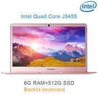"""04 P9-04 רוז זהב 6G RAM 512G SSD Intel Celeron J3455 17"""" מחשב שולחני מחברת משחקים ניידת עם מקלדת מוארת (1)"""