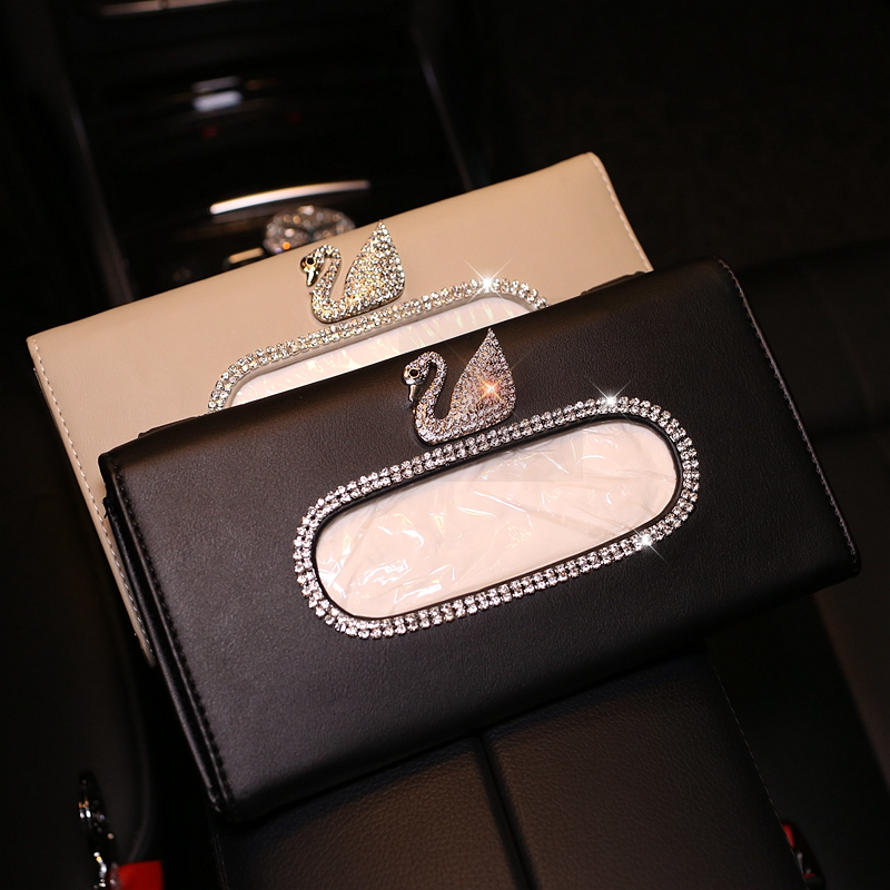 Cartoon Swan Crystal Car Tissue Box for Sun Visor PU Leather Hanging Auto Tissue Bag Holder Sunshade Case Car Accessories