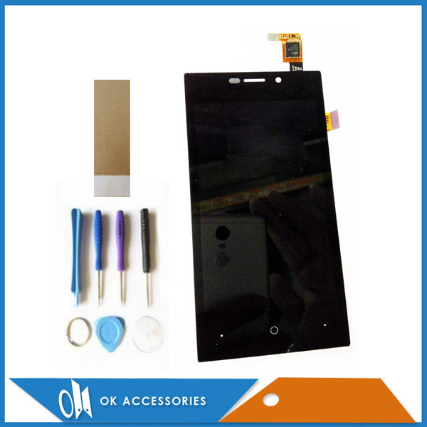For Highscreen Zera F (rev.S) LCD Display+Touch Screen Digitizer Assembly Black Color With Tools Tape 1PC /Lot