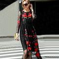 Sexy Vestido 2015 Europeu Moda Sexy Charmoso Elegante Bordado Vermelho Flor Malha Lace Completo Manga do Tornozelo-Comprimento Longo Preto vestido