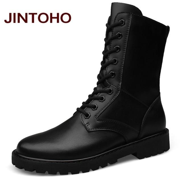 Jintoho/большой размер ботинки из натуральной кожи мужские военные пустыне загрузки обувь Мужские Зимние Сапоги Botas tacticos Zapatos