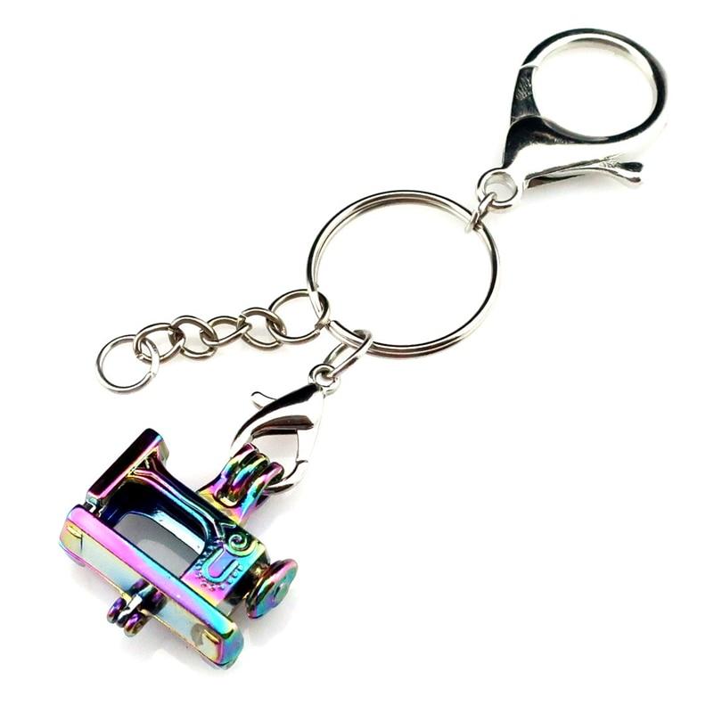 Y-C672 Rainbow Sewing Machine Beads Cage Keyring Waist Hanged Charms Locket Keychain For Girl Women Keyholder Chaveiro