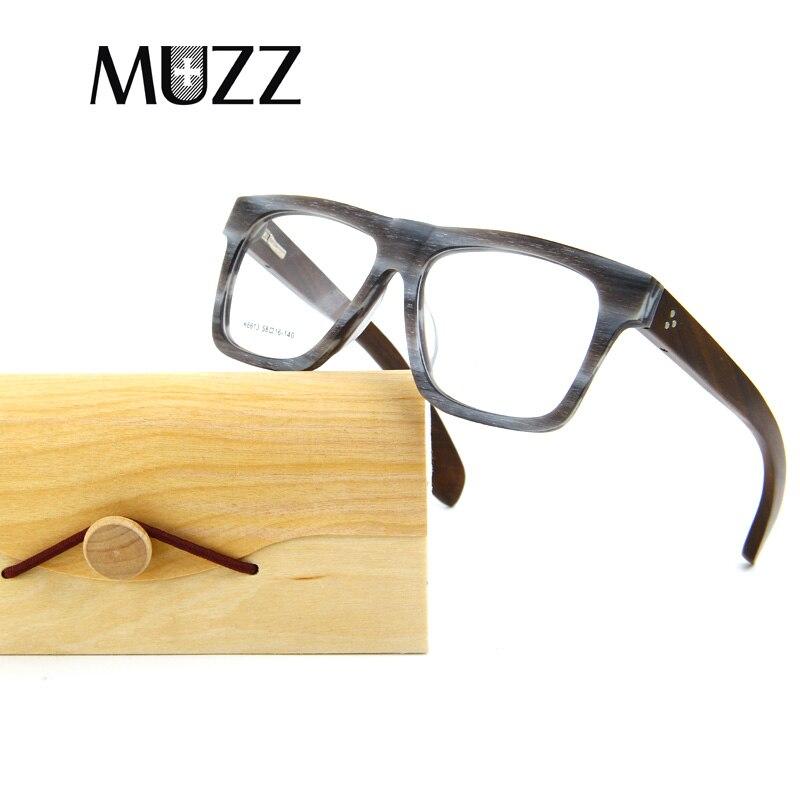d0754fd019 MUZZ Men Eyeglasses Frame Wood Grain Retro Oversized Male Optical Men  Glasses Clear Acetate Glasses Frames Women prescription-in Eyewear Frames  from Apparel ...