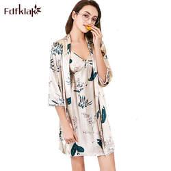 Fdfklak Для женщин s Ночные сорочки наборы шелковый атлас Sexy пижамы халат принт сезон: весна–лето халаты Для женщин Half-рукав женские халаты