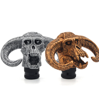 Hot Selling Resin Gold Silver Cool Antique Cow Head Skull Shaped Car Manual Gear Shift Knob