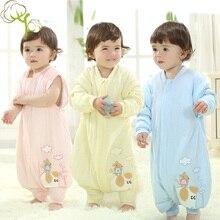 Купить с кэшбэком Flannel Baby Sleeping Bag Toddler Kids Pajamas Newborn Jumpsuit Infant Baby Sleep Wear for 0-4 Years Old