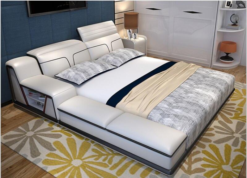 Cadre de lit moderne en cuir véritable, avec rangement, meuble de chambre à coucher