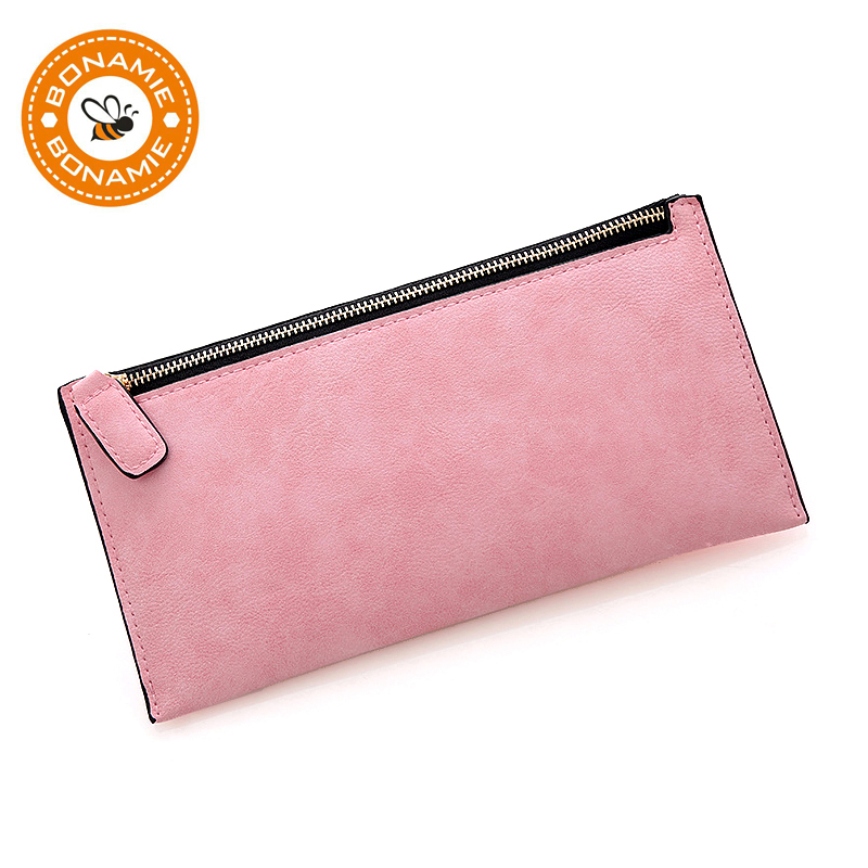 BONAMIE Candy Colors Thin Wallet Women Leather Slim Long Purse Simple Female Clutch Tarjeta de crédito ID Holder Zipper Money Phone Bag