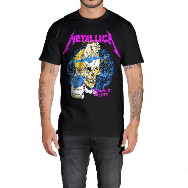 5cfc5f4ca62af Rocksir METALLICA DAMAGED JUSTICE nuevo diseño camiseta marca ropa hombres  100% algodón camiseta hombres Casual