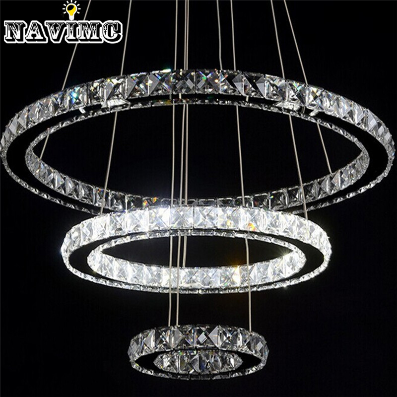 Modern led crystal chandelier light fixture for living room dining modern led crystal chandelier light fixture for living room dining room decorative hanging lamp diamond 3 rings chandeliers in pendant lights from lights aloadofball Image collections