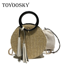 TOYOOSKY 2018 Women Handmade Round Beach Shoulder Bag Circle Straw Bags Summer Woven Rattan Handbags Messenger
