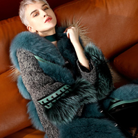 Women Winter Blue Fox Fur Coat, Horseshoe Sleeve, Sheep Genuine Leather Long Fur Coat Real Fur Coats for Women