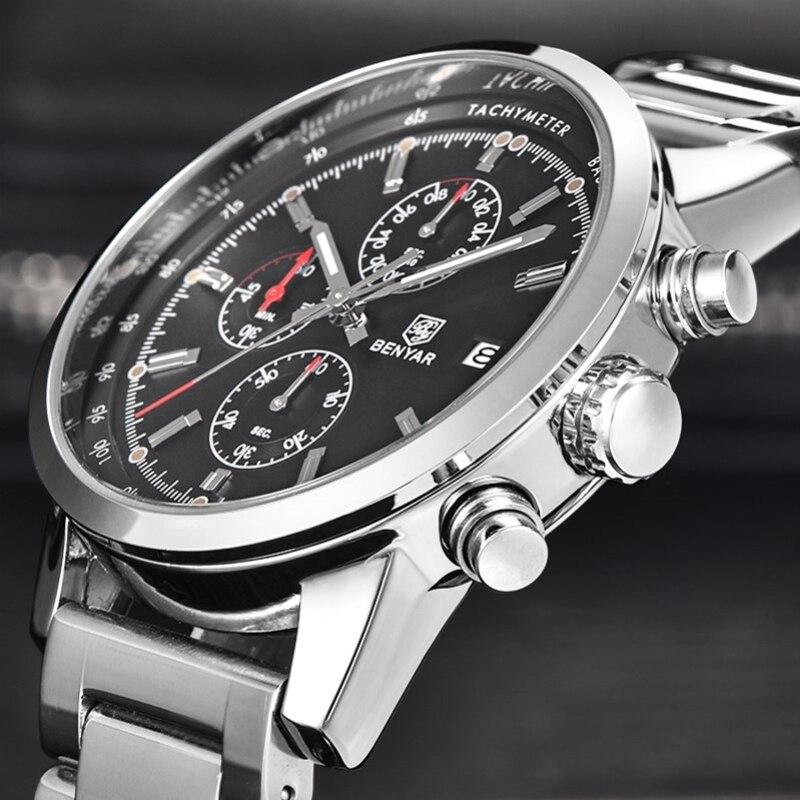Prix pour BENYAR Marque De Mode Chronographe Sport Montres Reloj Hombre Bracelet En Acier Inoxydable Quartz Militaire Montre Horloge Relogio Masculino