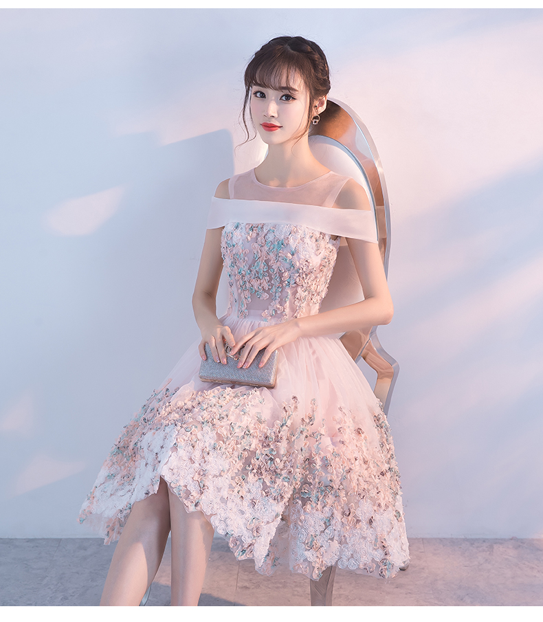 Princessally New Pink Short Evening Dress Flower Appliques Lace Short Sleeve Vintage Elegant Formal Homecoming Gown Robe Soriee 2