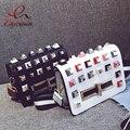 2016 new design fashion personality color rivet black & white ladies handbag shoulder bag female mini messenger bag purse flap