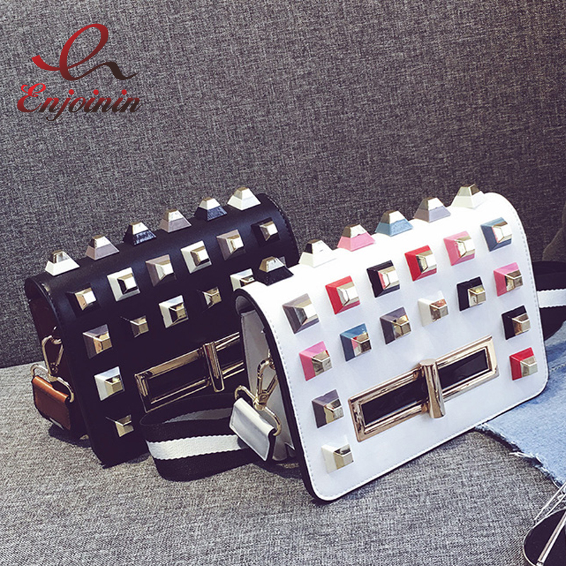 ФОТО 2017 new design fashion personality color rivet black & white ladies handbag shoulder bag female mini messenger bag purse flap