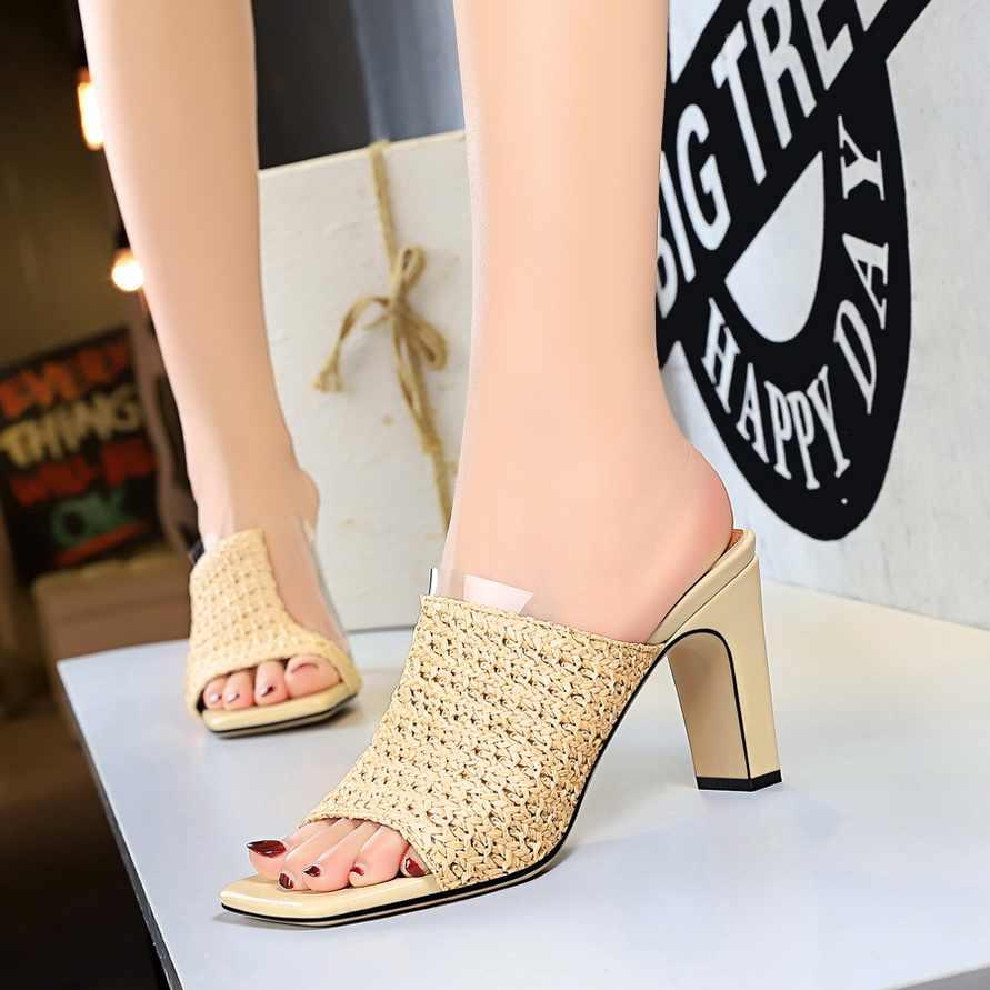 Plardin temel katır şeffaf yüksek topuklu kadın pompaları ayakkabı rahat sandalet bayanlar terlik Bohemia örgü kare zapatos de mujer