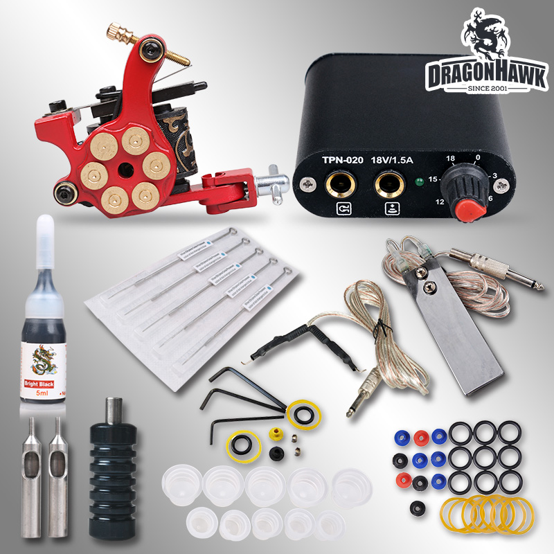 Beginner Complete Tattoo Kit Machine Guns Inks Needles Tattoo Power Supply  MGT-18GD-8 beginner tattoo kit 1 machine gun 4 inks needles tattoo power supply d1025gd 2
