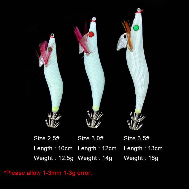 Gabarits de calmar lumineux 1 pièce crevette en bois lueur blanche avec pieuvre calamar Jig crochets seiche pêche leurre taille 2.5 #3.0 #3.5 #