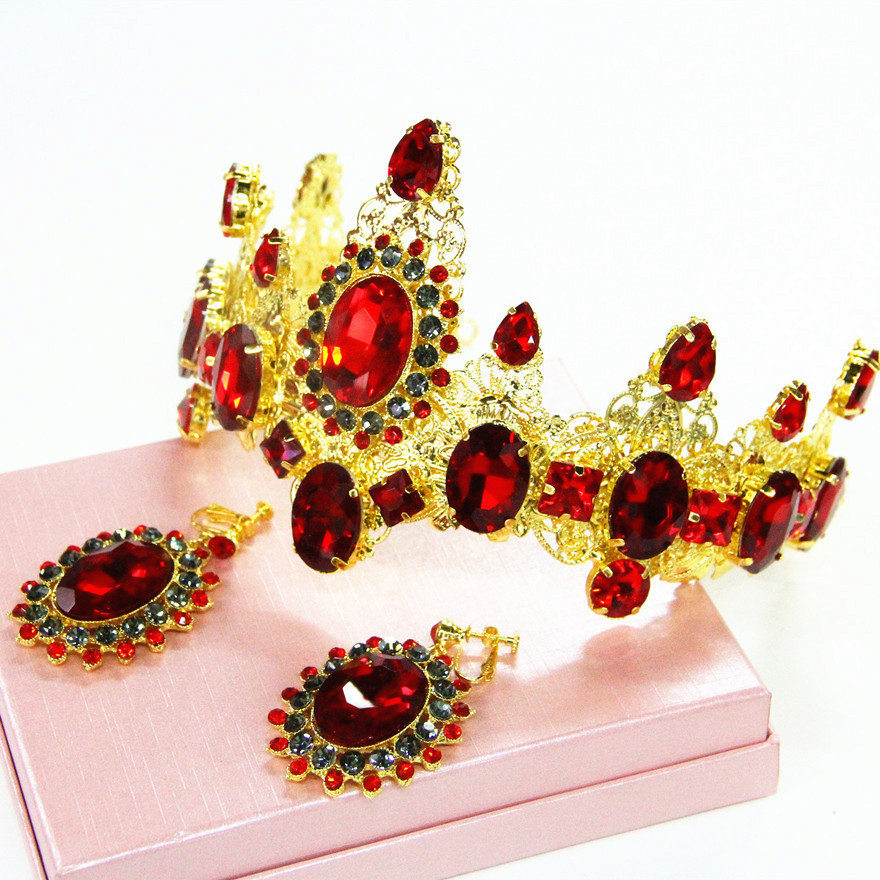 The new big red bridal tiara crown crown jewelry hair accessories studio photographing female Wang Fanhuang crown