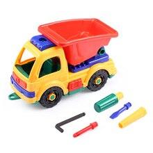 Brilhantemente Coloridos Veículos Diecasts Brinquedos DIY Montagem de Construção criança De Plástico Caminhão Veículo Com Ferramentas de Presente