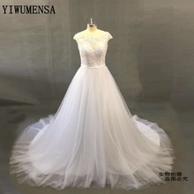 YiWuMenSa Real Photo Sexy backless Vintage Wedding dress Custom made Puffy Tulle ball gown Wedding gown Cheap Bridal dress gown