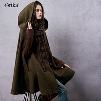 Artka Women S Autumn Vintage Ethnic New Arrival Wololen Cloak Coat Embroidered Turn Down Collar Drop