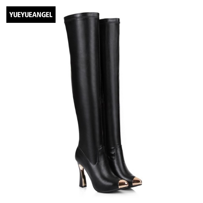 Sexy Elegant New Fashion High Heel Women Side Zipper Winter Metal Toe Motorcycle Boots Genuine Leather Over Knee High Shoes fashion genuine leather zipper med heel women mild calf boots round toe rivets metal runway handmade luxury motorcycle boots l68