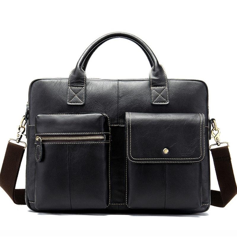 Vintage Genuine Leather Handbag Men Briefcase High Quality Messenger Bags Travel Natural Cowhide Crossbody Shoulder Bag For Men