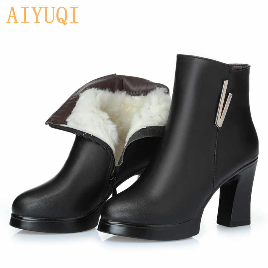 2020 yeni kadın yarım çizmeler bayanlar hakiki deri kar botları yüksek topuklu moda 34 kırmızı çizmeler gerçekten kış Ding ayakkabı