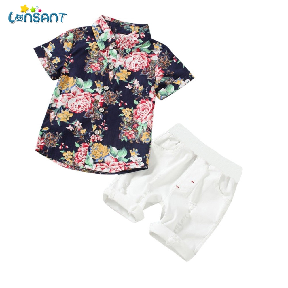 LONSANT 2PCs Children boys clothes set Toddler Kids Baby Boys Flowers Print Tops White S ...