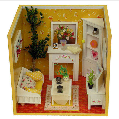 Free Shipping Dolls House DIY Wooden Dollhouse 3D Molel Living Room  Miniature With Furniture ... Part 94