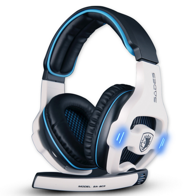 Sades SA-903 7.1 Surround Sound USB Headphones Pro Gaming Headset For PC Gamer Headphone With Microphone Remote Control Earphone