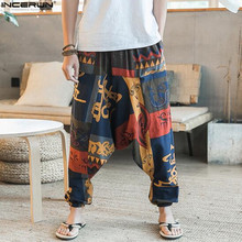 2019 Ethnic Retro Men Cross-Pants Wide Leg Linen Harem Pants Men Elastic Waist Loose HipHop Crotch Pants Man Joggers Trousers