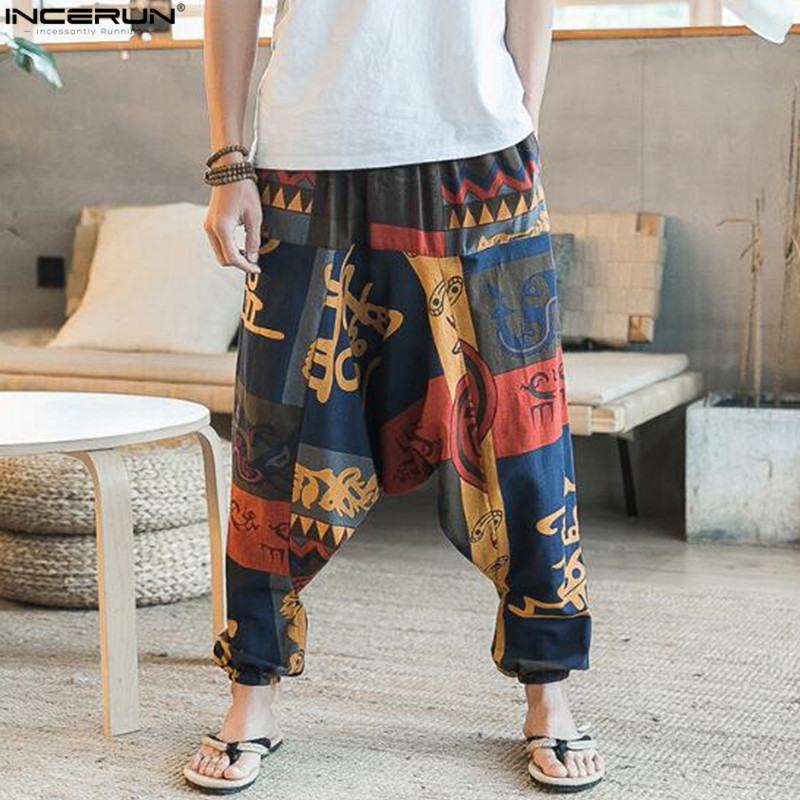 2019 Ethnic Retro Men Harem Pants Wide Leg Linen Harem Pants Men Elastic Waist Loose HipHop Crotch Pants Man Joggers Trousers