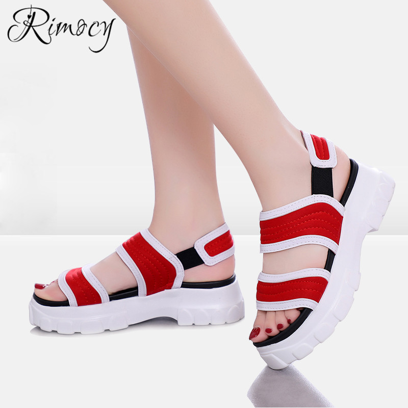 Rimocy summer casual shoes for woman with platforma black red flat with gladiator sandals women wedge sandalias flip flops mujer