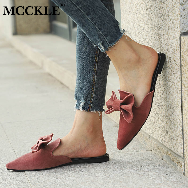 MCCKLE Women Bowtie Autumn Mules Female Casual Flat Flock Slippers Pointed Toe Low Heel Slip On Shoes Sweet Ladies Footwear xiaying smile summer women sandals casual fashion lady square heel slip on flock shoes pointed toe cover heel lace bowtie shoes page 8