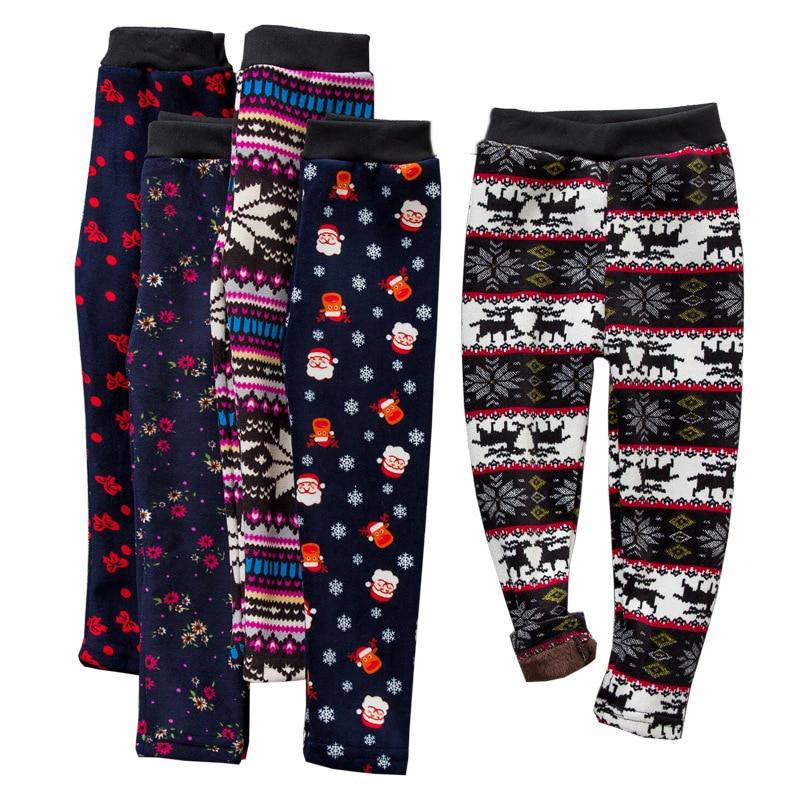 цена на Children Pants Winter Autumn Thick Warm Girls Leggings Printed Velvet Thicken Girl Pants Soft Warm Leggings Kids Clothing