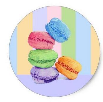 1.5inch 5 Macarons stripes Sticker