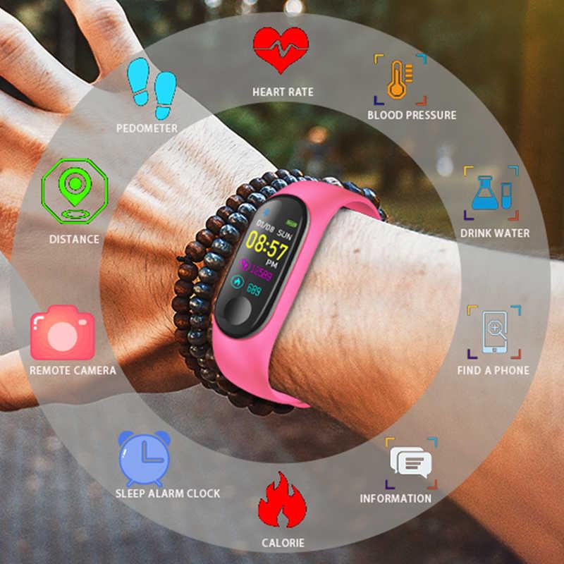 Ini 2019 Baru Smart Sport Watch Wanita Heart Rate Tekanan Darah Monitor Smart Gelang Kebugaran Tracker Pedometer PK M3 Band + Kotak