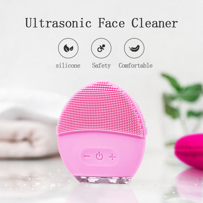 Electric Silicone Facial Cleansing Brush  USB Rechargeable electric facial cleanser Waterproof Ultrasonic Pore Clean InstrumentElectric Silicone Facial Cleansing Brush  USB Rechargeable electric facial cleanser Waterproof Ultrasonic Pore Clean Instrument