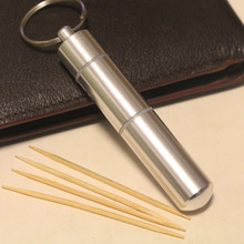 1PCS Aluminium Alloy Metal Pocket Toothpick Holder with Keychain New Fashion Portable Traveling Box