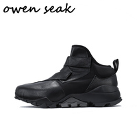 Owen Seak Men Boots Height Increasing Ankle Luxury Trainers Cow Leather Casual Shoes Snow Winter Flats Black Lace Up Boots