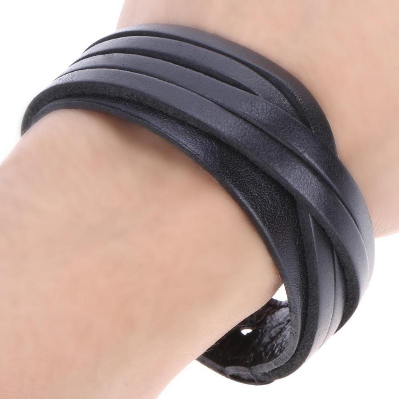 1PCs Leather Bracelet Men Multilayer Braid Bracelets & Bangles Punk Wrap Bracelets for Women Punk Casual Men Jewelry