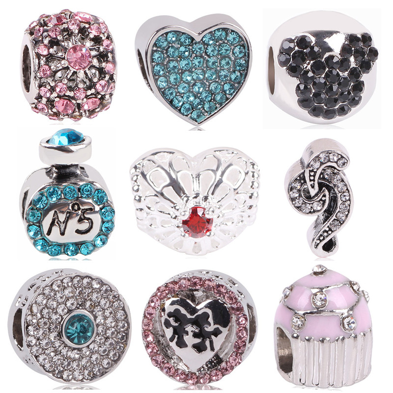 AIFEILI NEW Silver Color Watermelon Note Mickey Cake DIY Love Bead Charms For European P ...