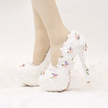 2017 Design Fashion White Chiffon FLower Bridal Shoes Beautiful Applique Bride Wedding Party Shoes Birthday Prom High Heel Pumps